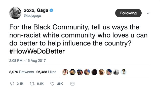 Lady Gaga asked black people on Twitter what white people can do to better America and people are confused  https://t.co/4lZ3mOXYeb