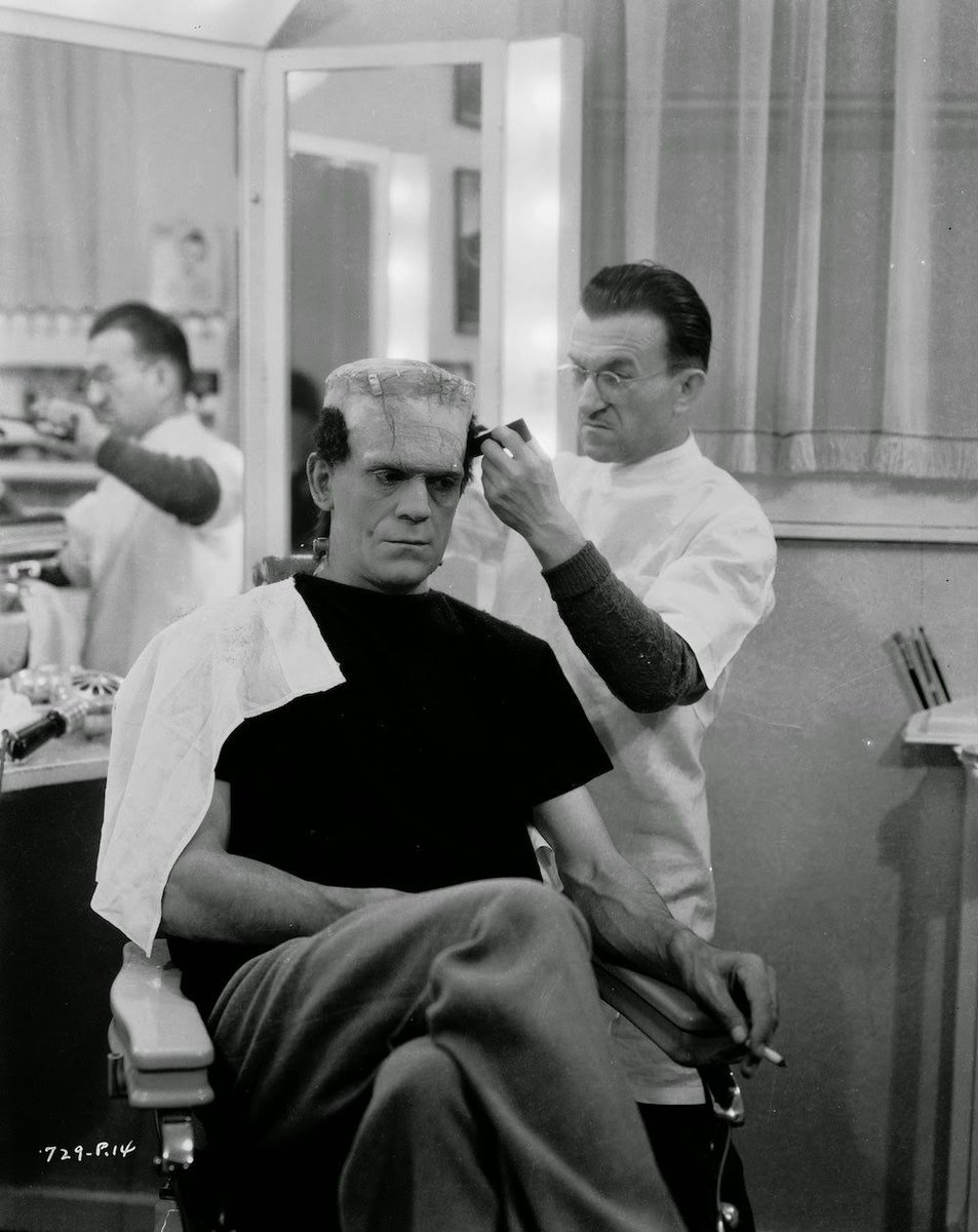 #JackPierce works to transform #BorisKarloff into the #monster for &#39;#Bride of #Frankenstein&#39;,<br>http://pic.twitter.com/hiGAoM2iZz