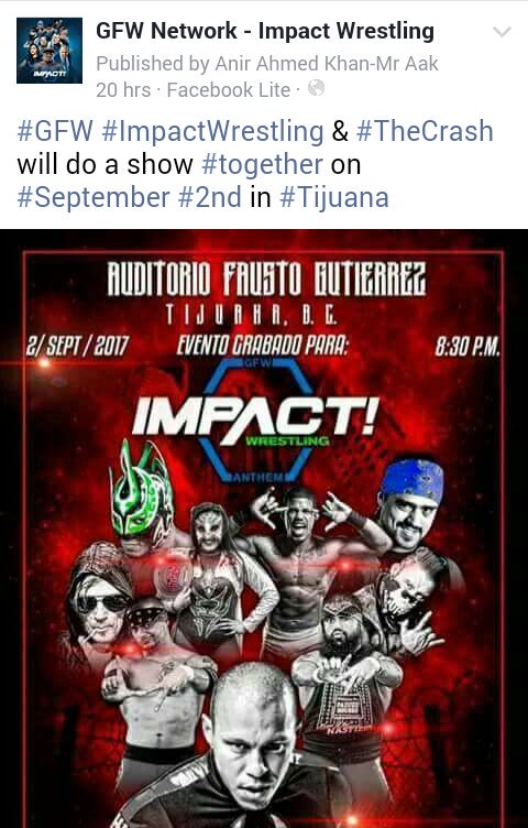 #GFW IS PLANNING TO TAPE AT @TheCrashLuchas IN SEPT @GarzaaJr @Laredo_Kid @SantanaLAX @Ortiz5150 @OneWorldWarrior m<br>http://pic.twitter.com/wy7Jz5tCRC