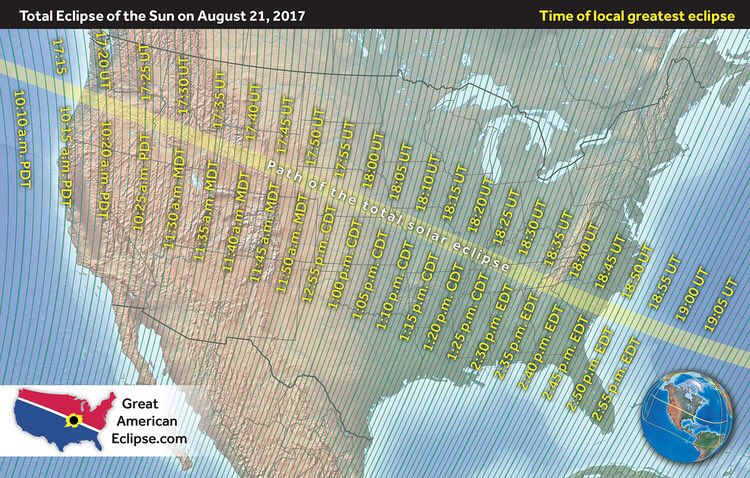 PASS IT ON: Solar Eclipse Monday! Here&#39;s the greatest eclipse times for August 21st across the United States. #SolarEclipse  #Space <br>http://pic.twitter.com/KLSct80pHh