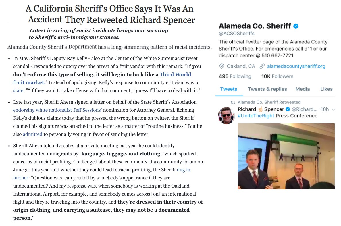 Alameda Sheriff Dept has history of racist incidents. @JerryBrownGov, do you support #SB54 #CAValuesAct to limit their collaboration w/ICE?
