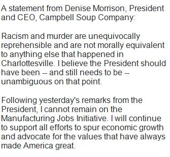 Campbell CEO resigns from Trump's Manufacturing Jobs Initiative: 'Following yesterday's remarks from the President, I cannot remain'