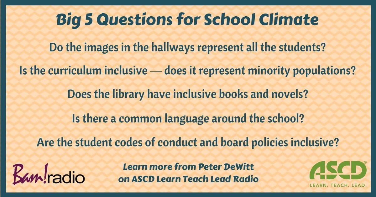 5 Big Q&#39;s for School Climate  (by @PeterMDeWitt, @ASCD, &amp; @BAMRadioNetwork) #edchat #education #elearning #edtech #ukedchat<br>http://pic.twitter.com/y96XUIqb3c