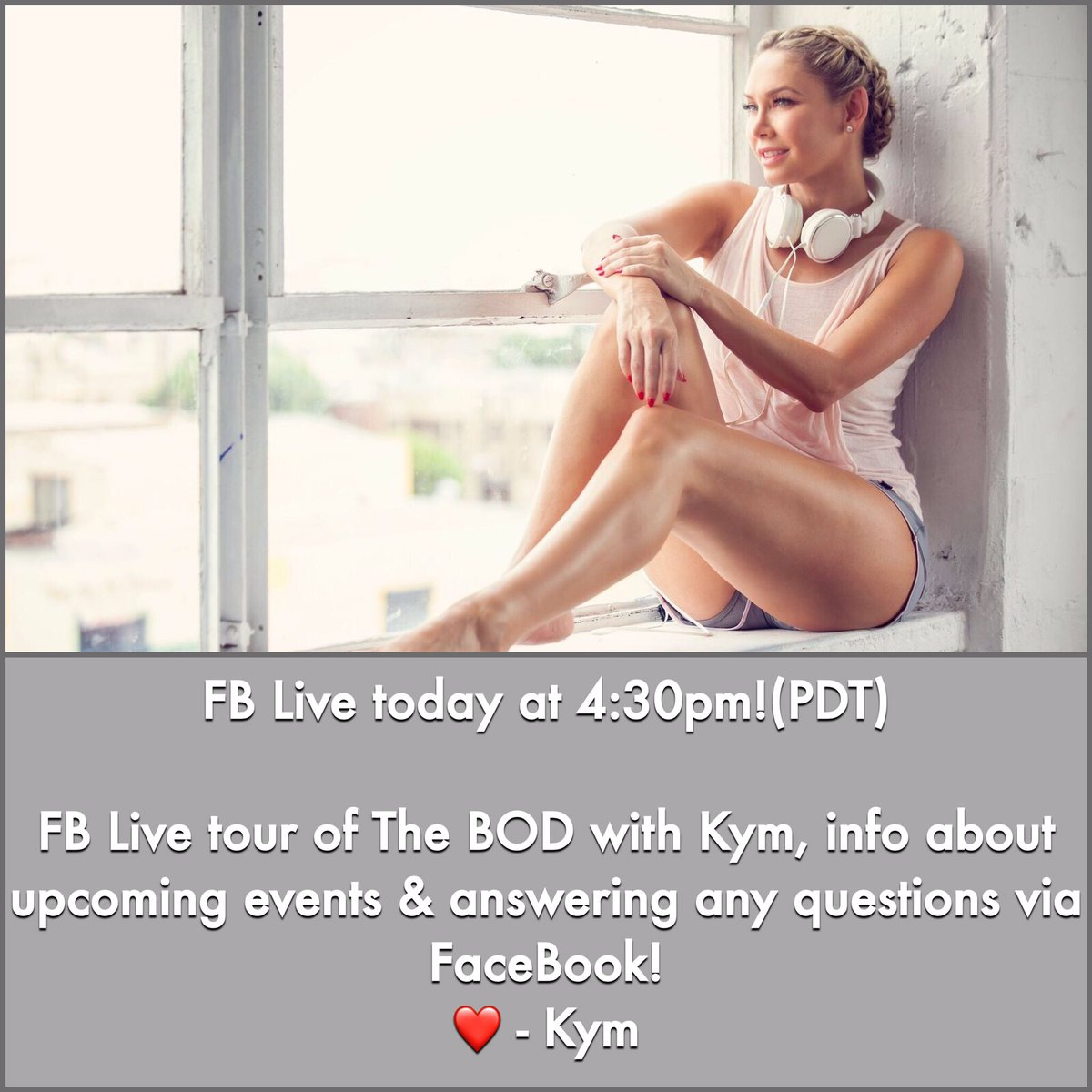 I'll be doing a face book live at 4.30pm! A behind the scenes look @thebodbykym hope to see you soon xox https://t.co/Mgf8Yn5h4m