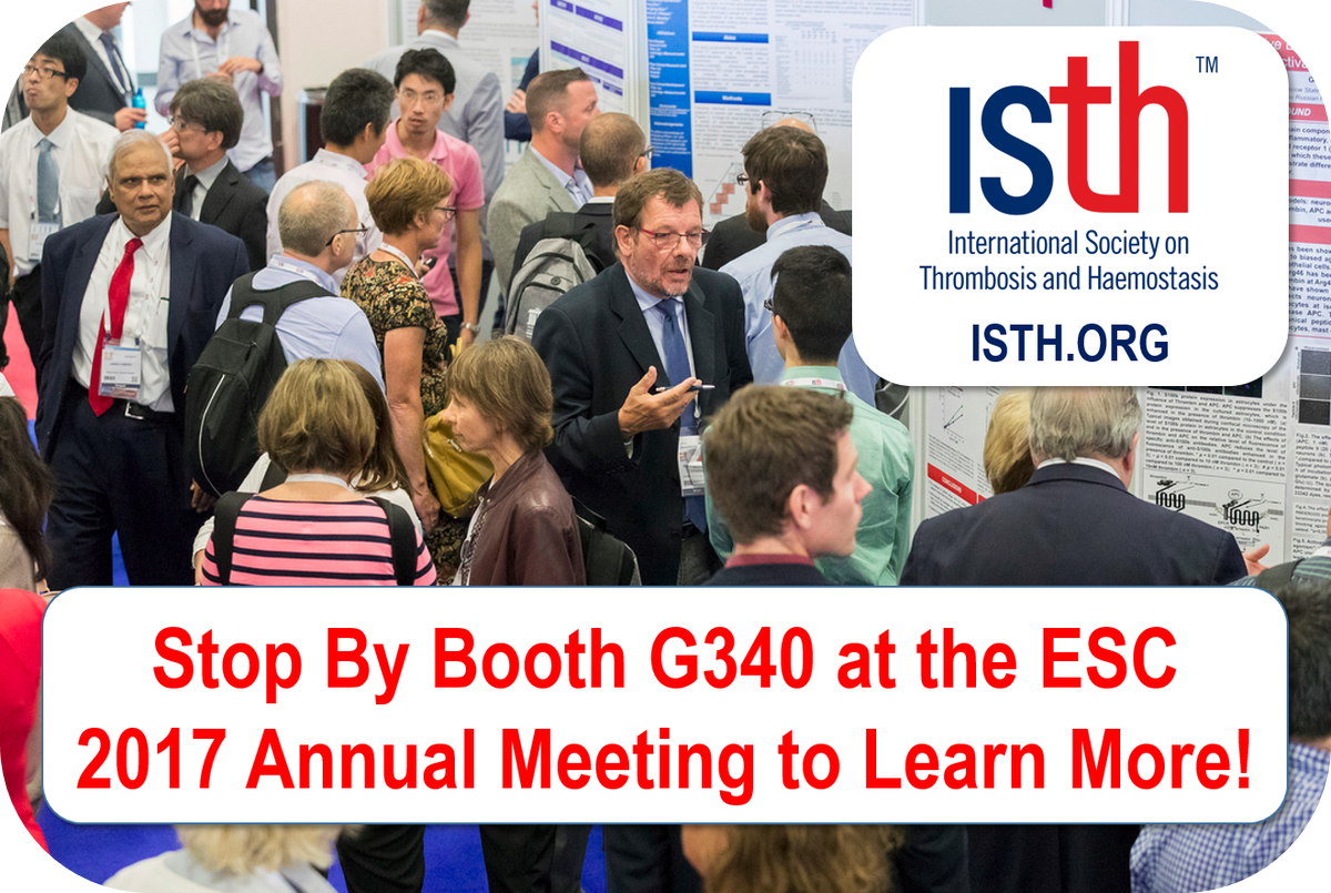 Going to #ESC2017 in Barcelona, Spain? Learn about @isth membership, #publications (@RPTHjournal &amp;  @JTHjournal ), #education &amp; WTD @ #G340!<br>http://pic.twitter.com/QpA7DUFxHL