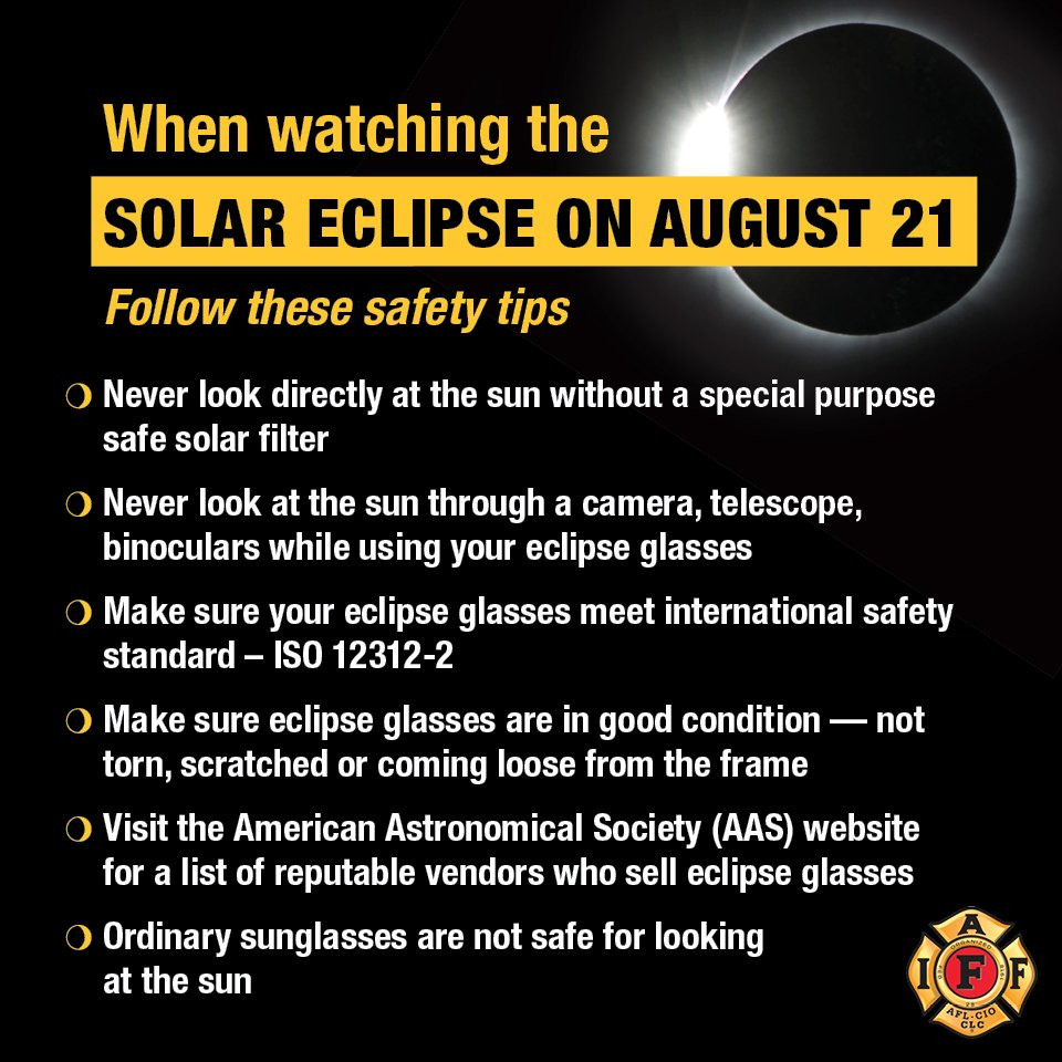 When watching the #SolarEclipse2017 remember to follow these safety tips #solareclipseglasses https://t.co/7bMg9eF6Ii