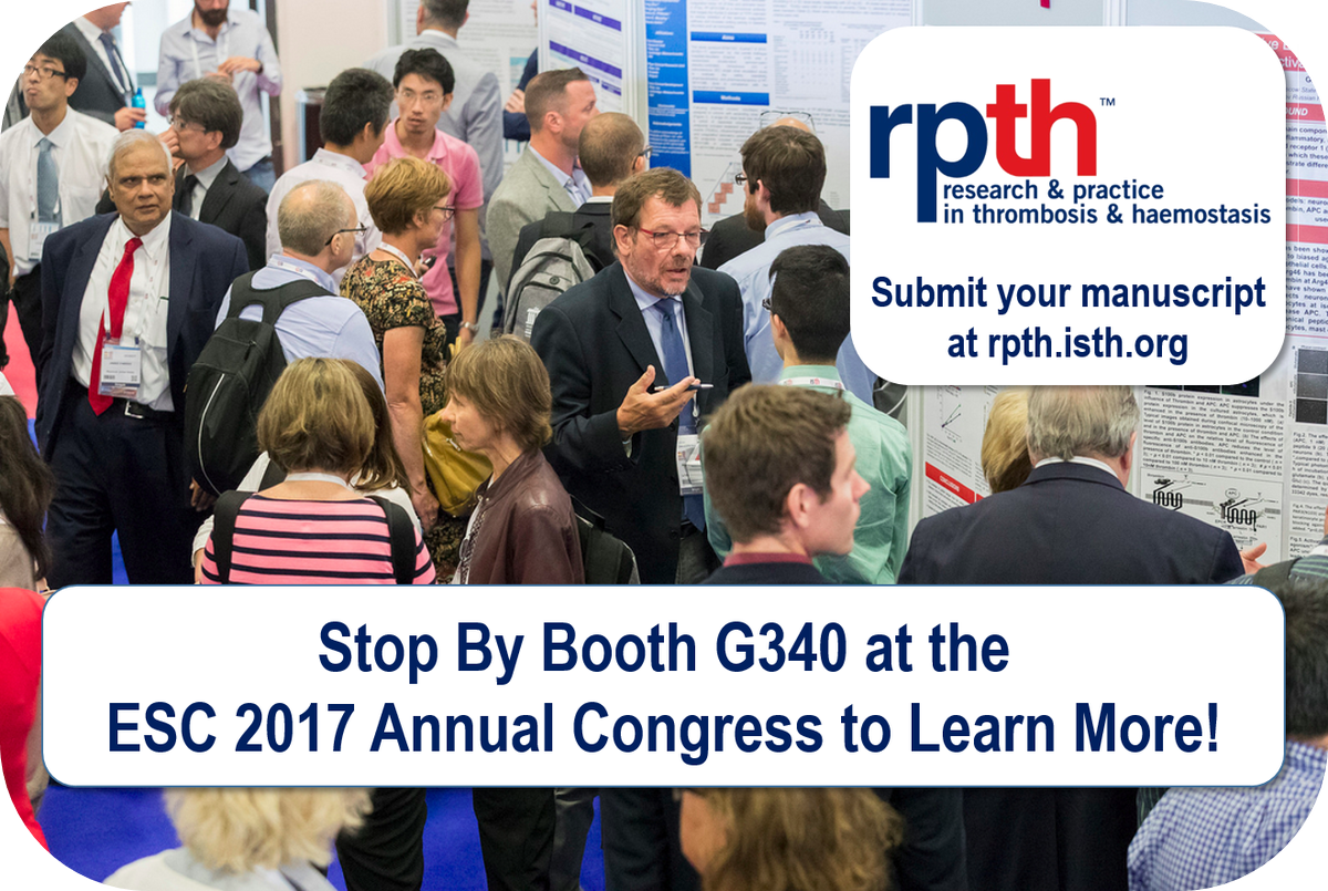 Are you going to #ESC2017 next week? @RPTHjournal will be at booth G340 to share more information about the new #openaccess @isth #journal <br>http://pic.twitter.com/yyJNbgLB2J