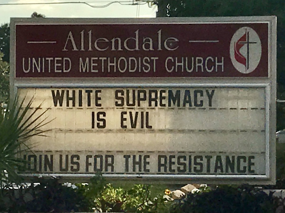 Join the #Resistance. #whitesupremacyisevil on the church sign at Allendale UMC in St. Pete FL. #stpete #impeachtrump #Charlottesviille <br>http://pic.twitter.com/CU5rse2eC5 &ndash; bij Allendale United Methodist