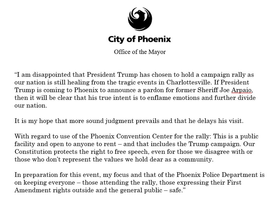 My statement on Trump's August 22 event at the @PhoenixConvCtr. https://t.co/nPYIHX5eVg