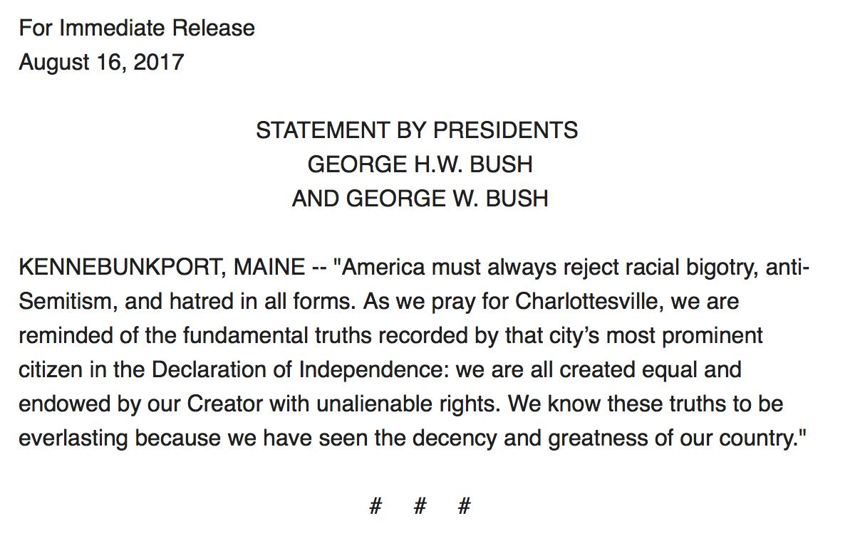 George H.W. Bush, George W. Bush: 'America must always reject racial bigotry, anti-Semitism and hatred in all forms' https://t.co/D3lb1kTvwy
