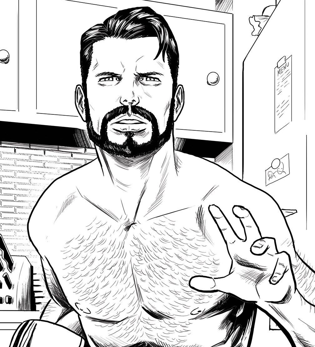 Just drawing hunky, bearded, shirtless dudes #wip #jasonmuhr #hunks #beards #bears #comicart<br>http://pic.twitter.com/Mq6uatSvZJ