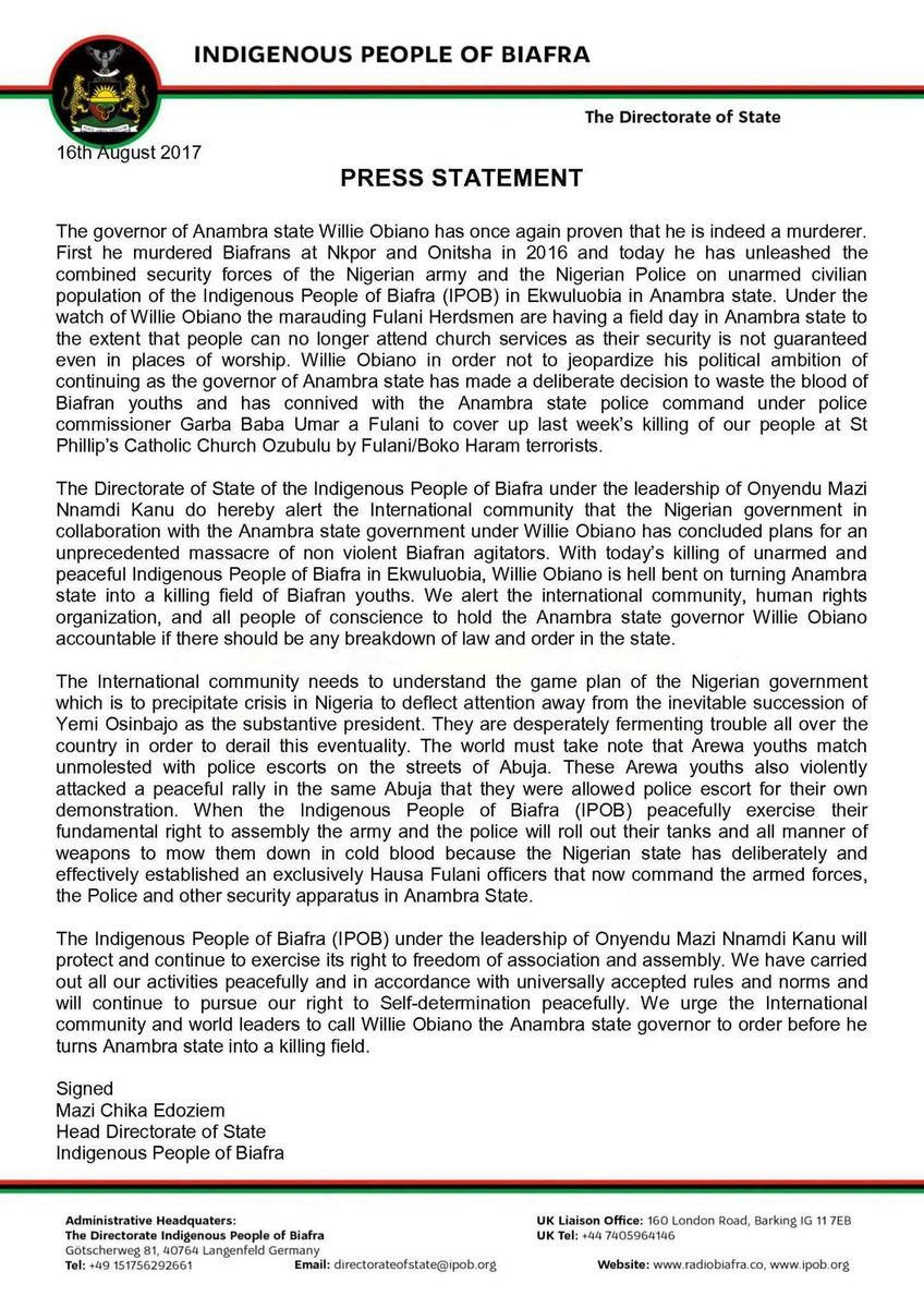 BIAFRA: PRESS STATEMENT FRM #IPOB DOS TO THE GOVERNOR OF #ANAMBRA #WILLIEOBIANO @NkirukaNistoran #America #AU #Abiastate @netanyahu #Israel <br>http://pic.twitter.com/j9RmqynHs3