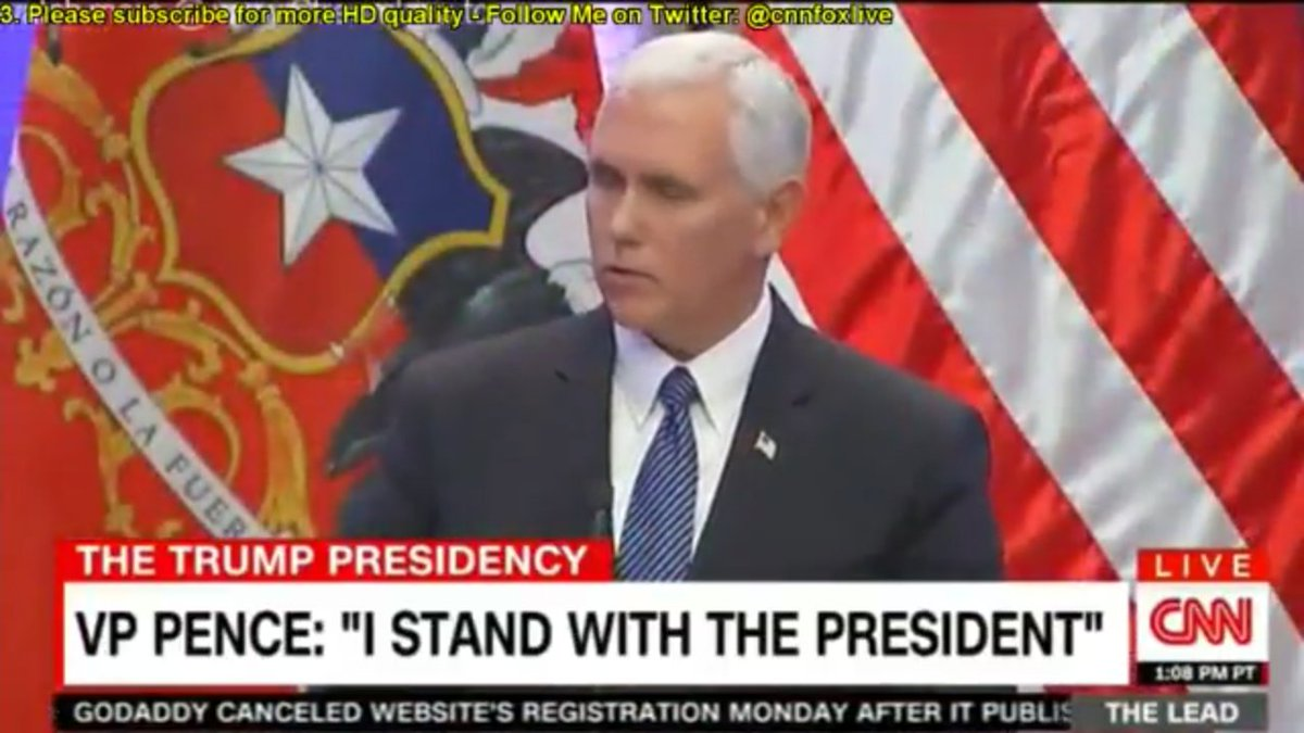 #BREAKING:.@VP Pence says, &quot;I stand with the Prez&quot;----for #WhiteSupremacy?? #TheResistance #Charlottesville #CNN #msnbc<br>http://pic.twitter.com/X9bw5iVNby
