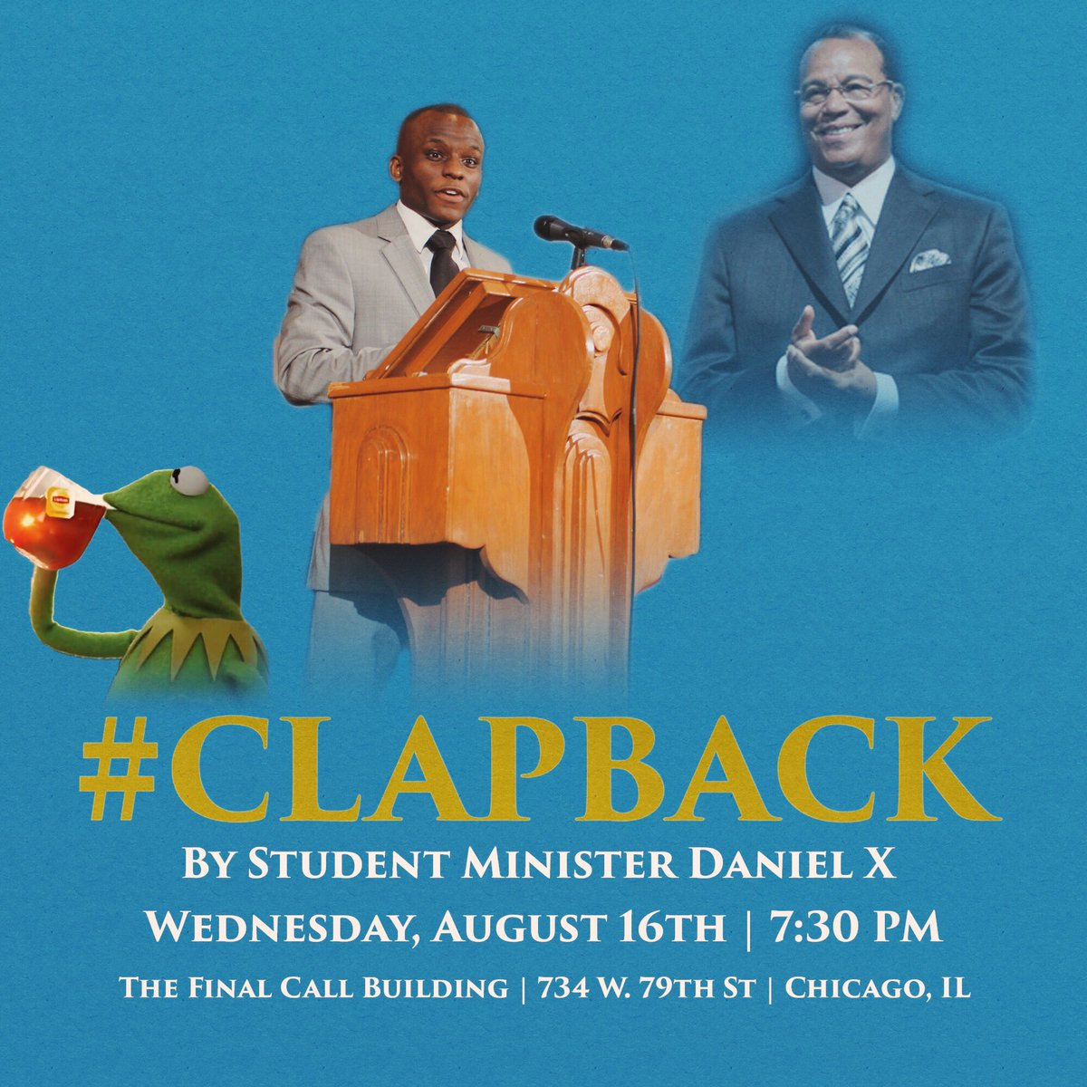 Make sure you all come out tonight 7:30 to the @FinalCallStore to hear brother #StudentMinister @Mental_Chemist  #topic #ClapBack #FCN #NOI<br>http://pic.twitter.com/63MMtpWlTG