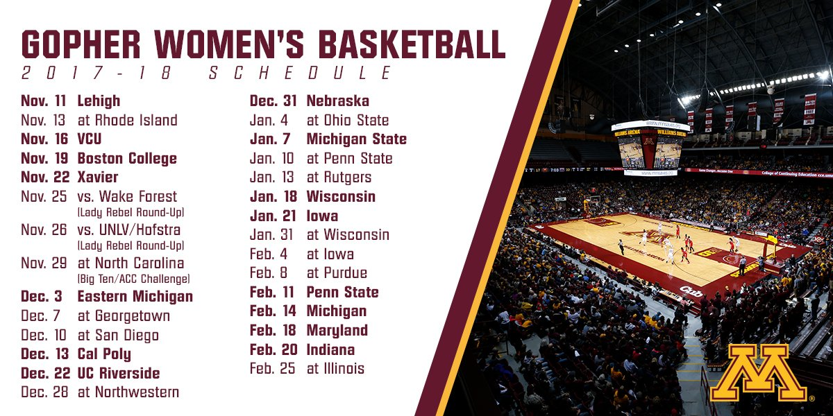 picture regarding Unc Basketball Schedule Printable identify Minnesota Womens Basketball upon Twitter: \