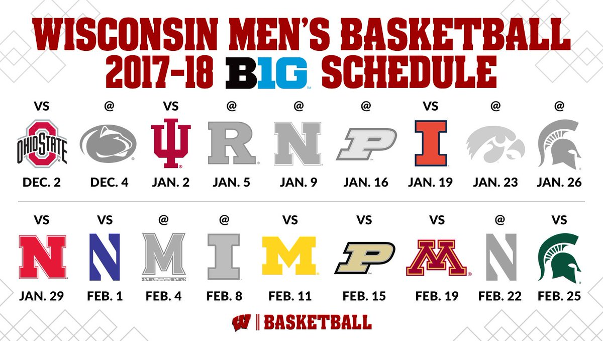 """wisconsin basketball on twitter: """"check our online schedule for the"""