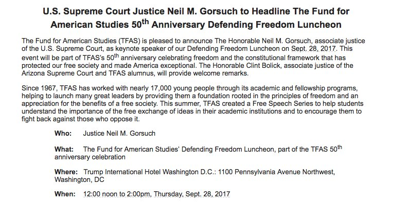 Justice Gorsuch will address a conservative group next month, at the Trump International Hotel, naturally
