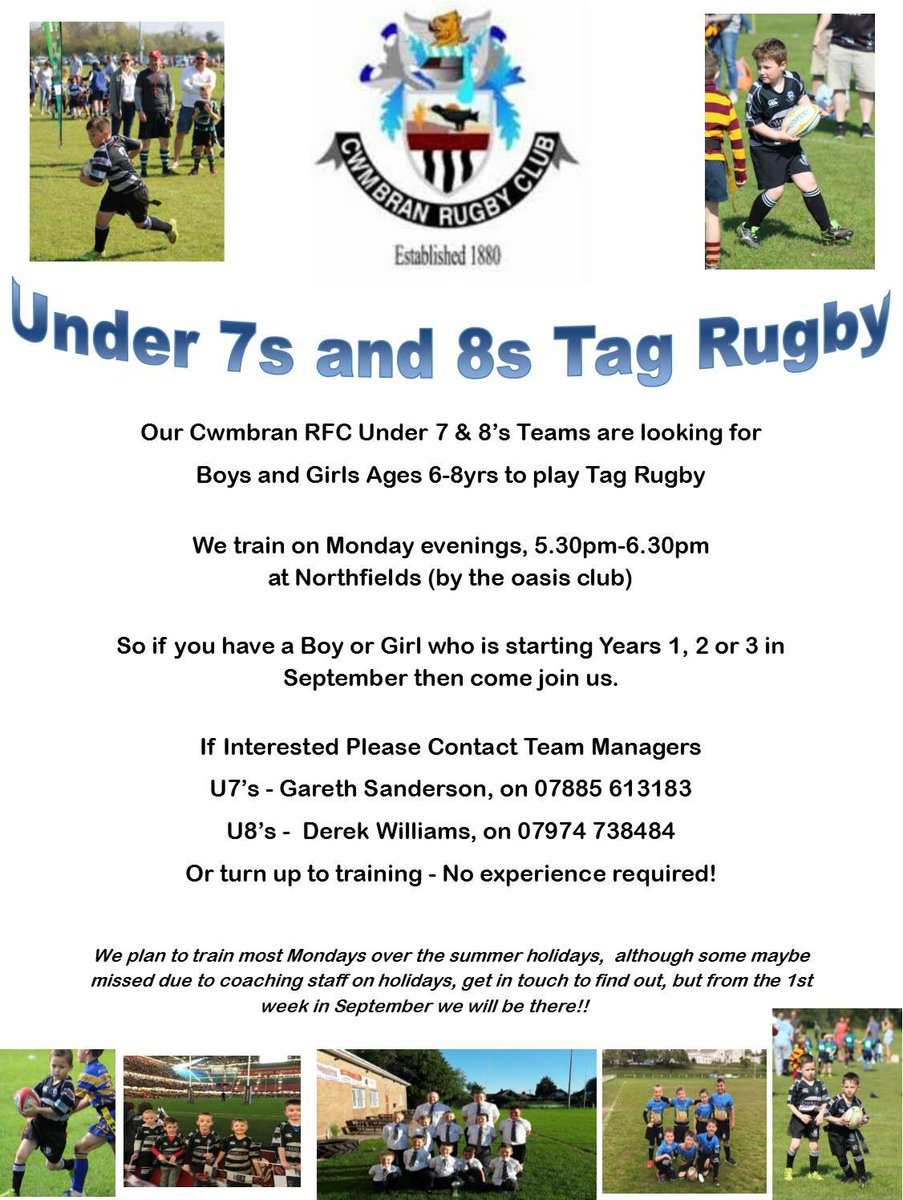 Open to boys and girls aged 6-8 years. No experience required. @cwmbranrfc #thecrows #rugbyfamily <br>http://pic.twitter.com/WemmDqnWHh