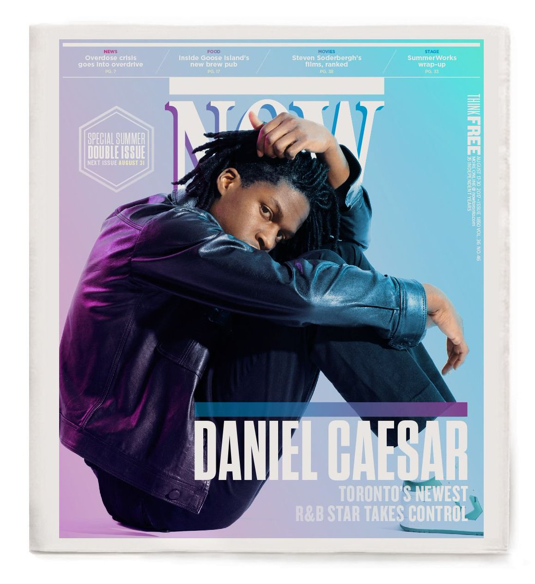 Tomorrow's cover: Toronto's newest R&B star Daniel Caesar https://t.co/ZDLKlt14TN