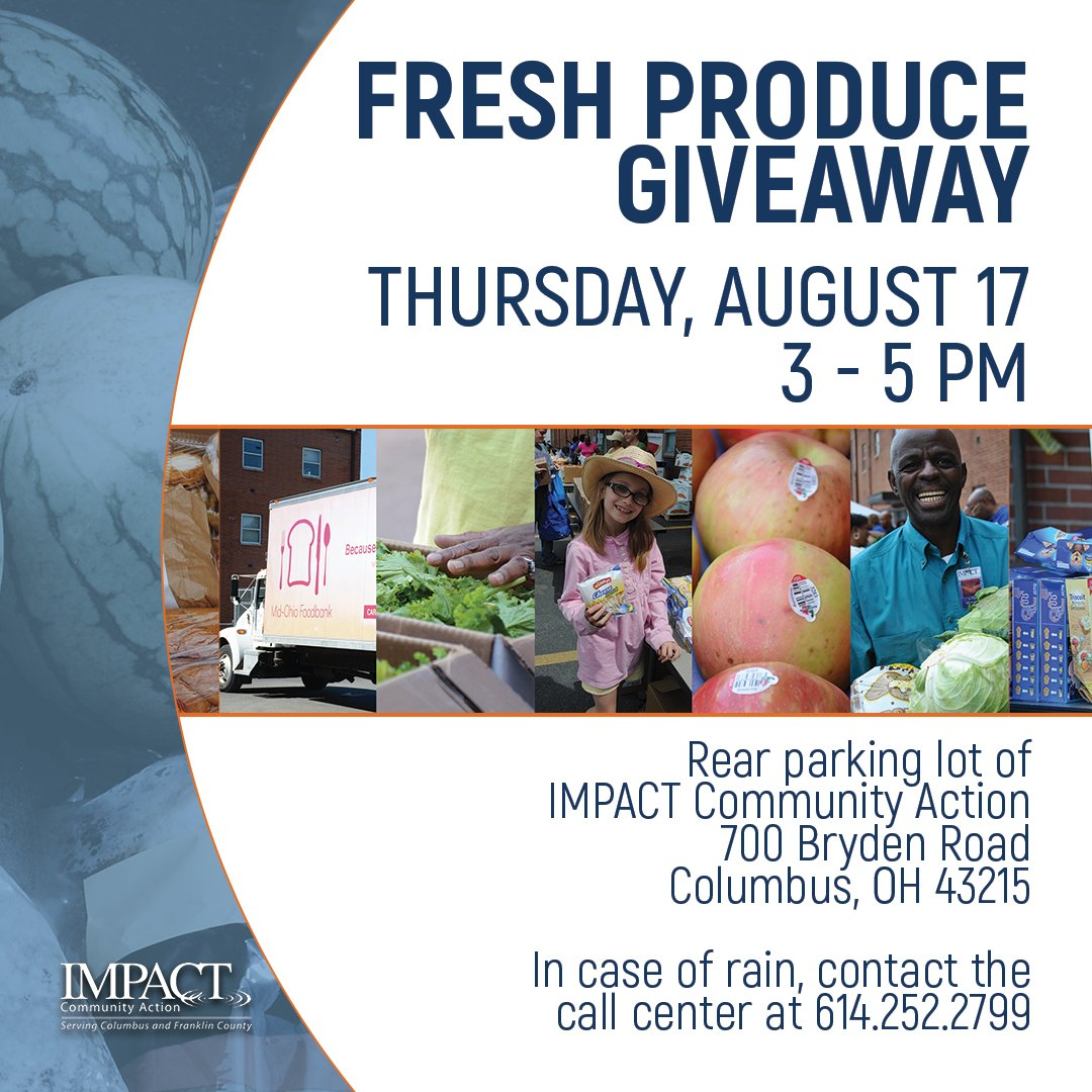 Tomorrow is our next Fresh Produce Giveaway. It all starts at 3. Bring you own bags and boxes to carry your groceries home! #impact #produce <br>http://pic.twitter.com/JMG4tijk9n