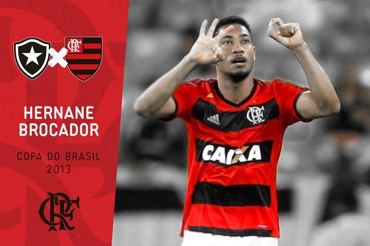 O clássico já rolou na Copa do Brasil, em 2013, nas quartas de final. Empate (1x1) no 1º jogo e vitória do Flamengo (4x0) no 2º. #BOTxFLA