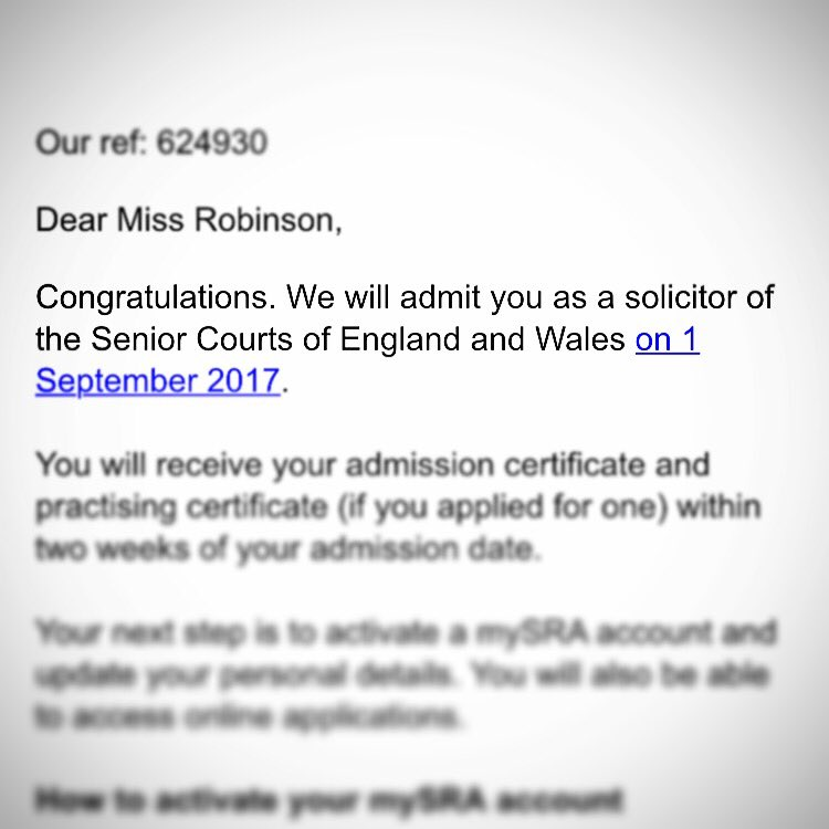 Got this amazing email today! ... Not long now! #qualification #solicitor #septemberadmission #6yearswork #SRA <br>http://pic.twitter.com/k47PhMwZTE