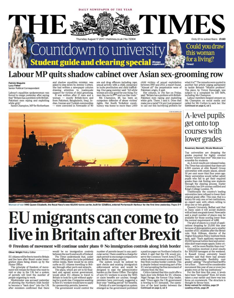 Tomorrow's front page: EU migrants can come to live in Britain after B...