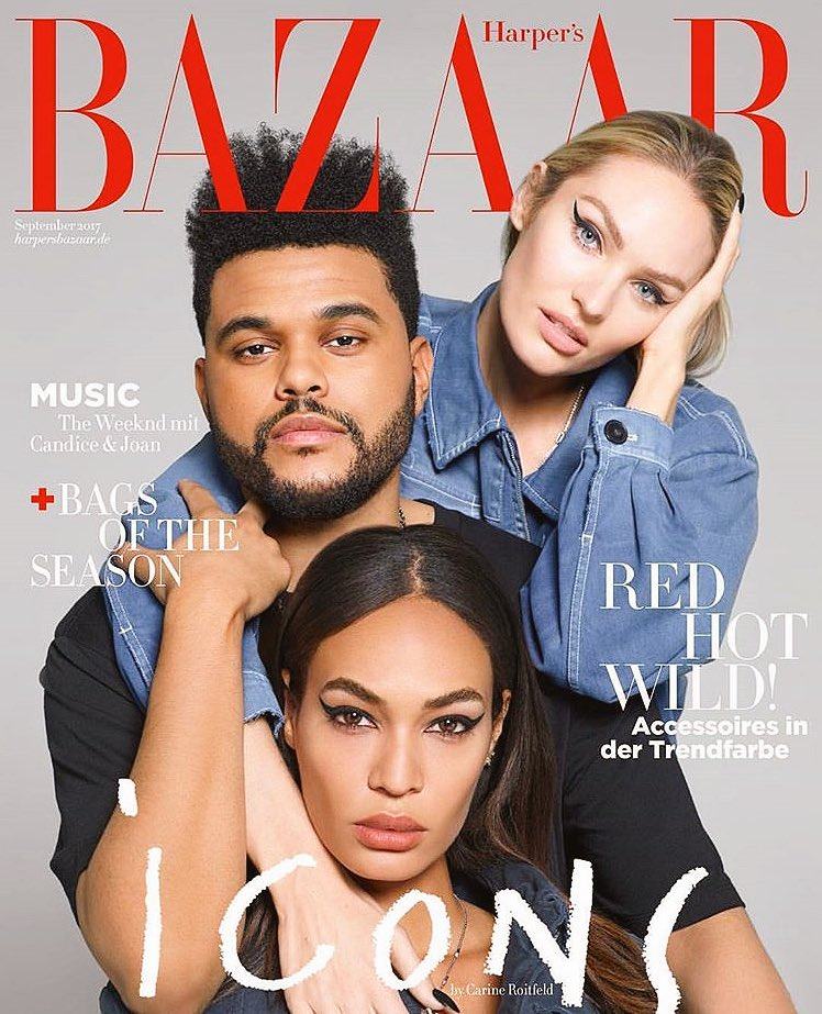 One of the #harpersbazaar international cover with this angel @angelcandice & @theweeknd https://t.co/cfBiA5j6GD