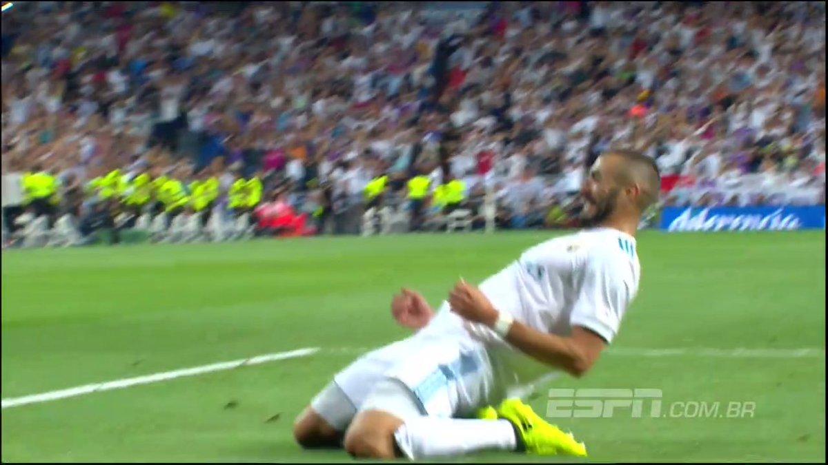 GOLAÇO do @realmadrid ! Marcelo cruza, Benzema levanta a bola e acerta voleio para o gol; assista! https://t.co/vFkjg6A7BK