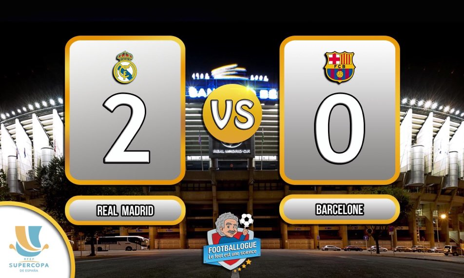 [#SuperCopa] REAL MADRID - BARCELONE  MI-TEMPS   Asensio 4&#39; Benzema 39&#39;   #RMAFCB <br>http://pic.twitter.com/XgnTNsIo1w