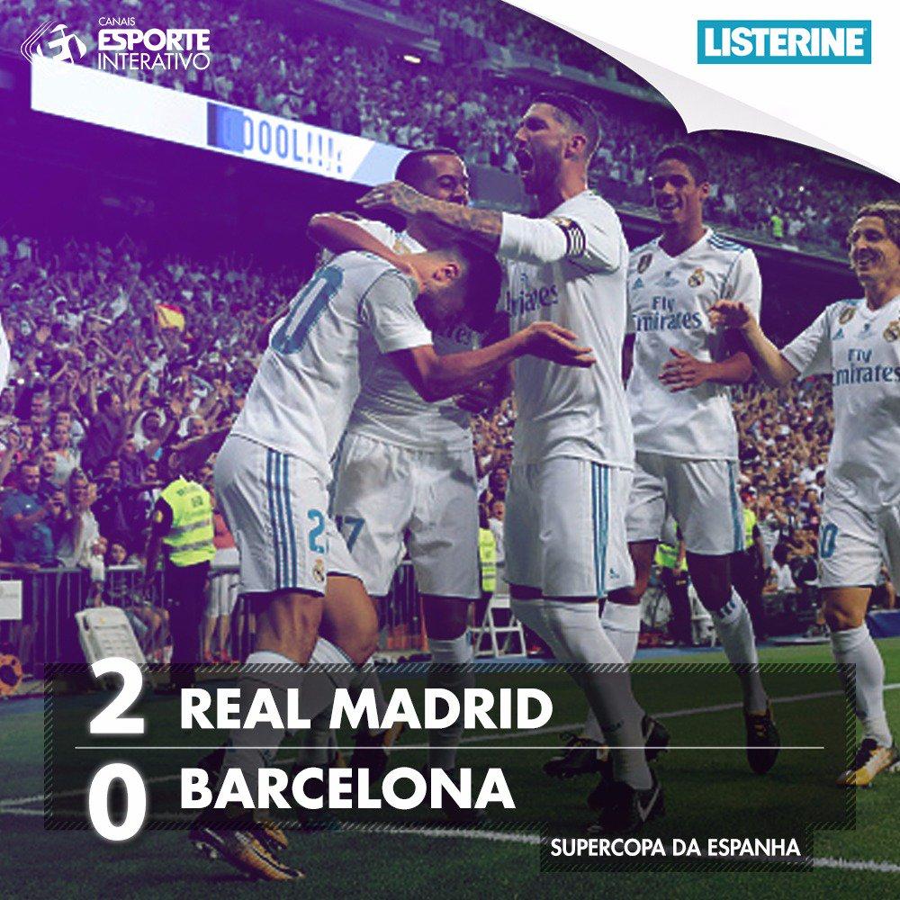 FIM DE JOGO! Com gols de @marcoasensio10 e @Benzema, o @realmadrid vence o @FCBarcelona por 2x0 e é CAMPEÃO da Supercopa da Espanha!