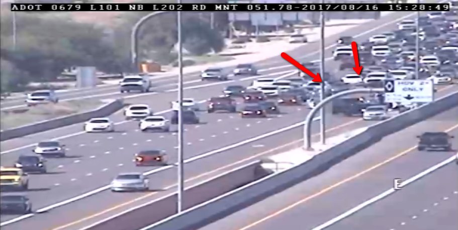 L-101 Pima Southbound at L-202 Red Mtn.: A crash is blocking hte HOV and left lanes. #PhxTraffic