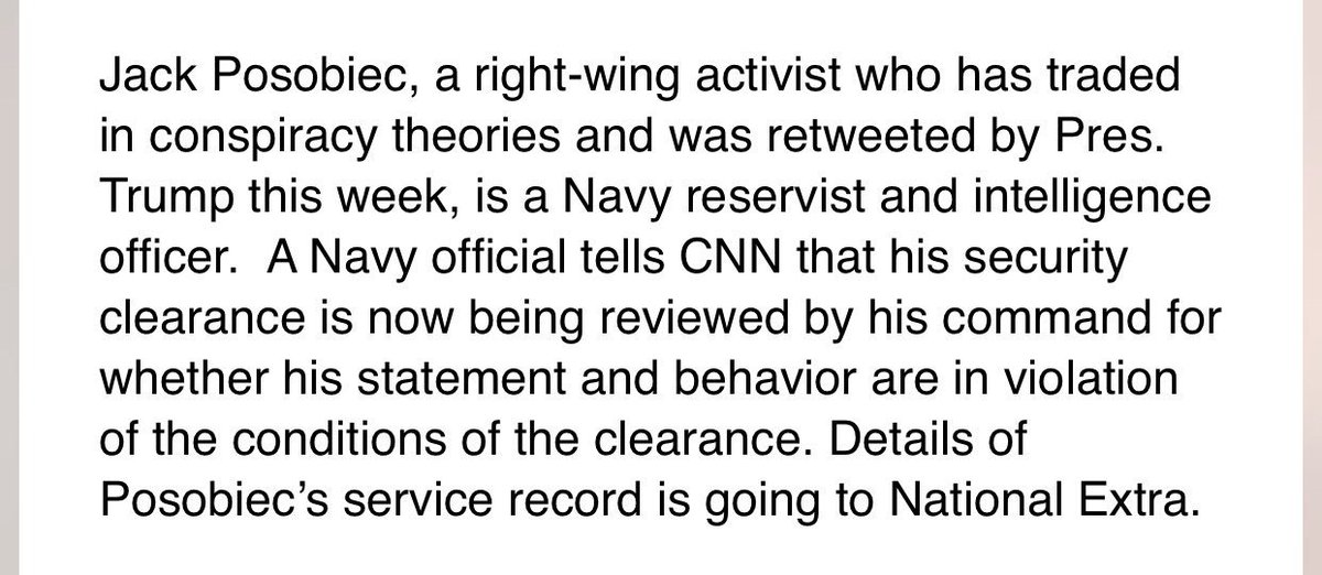 Just in: Security clearance of right-wing activist/conspiracy theorist @JackPosobiec - a reservist intel officer -being reviewed by Navy