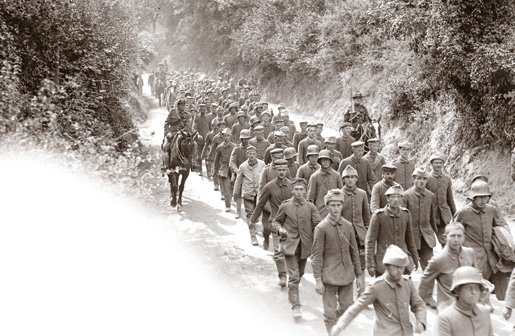 August 1917 - German prisoners captured by Canadians on Hill 70, near Lens, begin marched to the rear #100yearsago