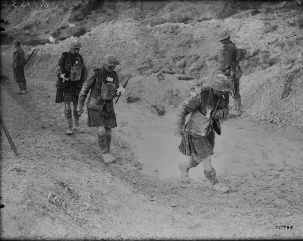 August 1917 - Canadian walking wounded making their way to the rear after capturing Hill 70 near Lens, France #100yearsago