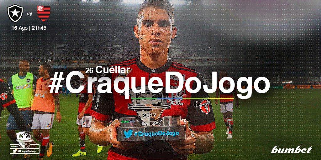Escolhido pela torcida, o #CraqueDoJogo do empate entre @BotafogoOficial e @Flamengo foi o volante Cuellar!