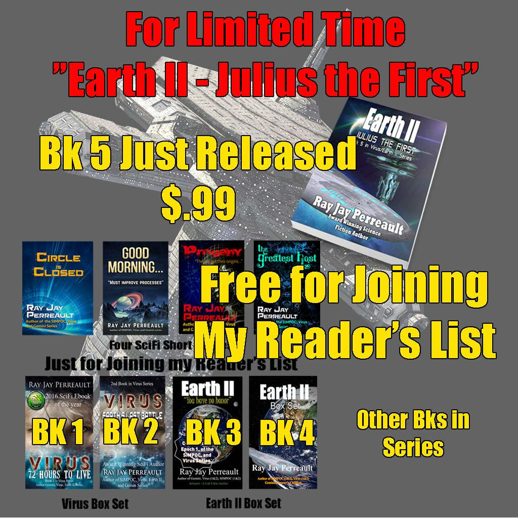 $.99 for NEW SCIFI NOVEL + 4 FREE Short Stories &amp; NOVELS - Ray Jay Perreault #Freebies  http:// amzn.to/2sRad9v  &nbsp;  <br>http://pic.twitter.com/5pufMfWD6i