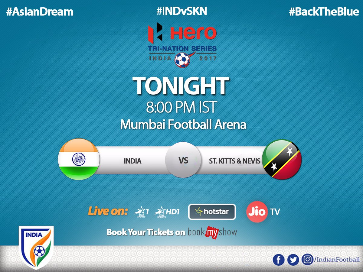 The Blue tigers return to the Mumbai Football Arena as India clash with @SKNFA_ after a thrilling victory last week #INDVSKN #BackTheBlue https://t.co/hq8tprjqnX