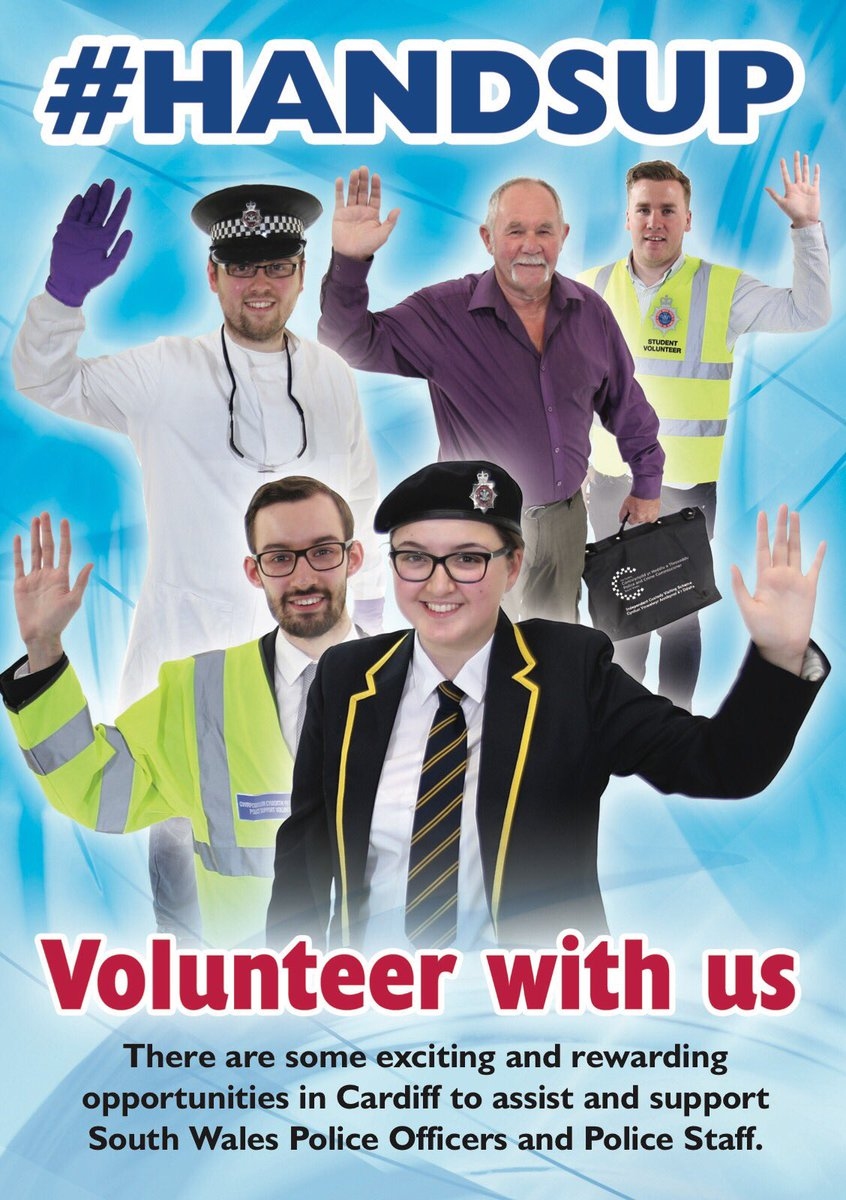 #Handsup if you&#39;re thinking of volunteering with the police?  @swpolice in #Cardiff are recruiting Volunteers Closing date 1st Sept  <br>http://pic.twitter.com/AOVm9rAArL