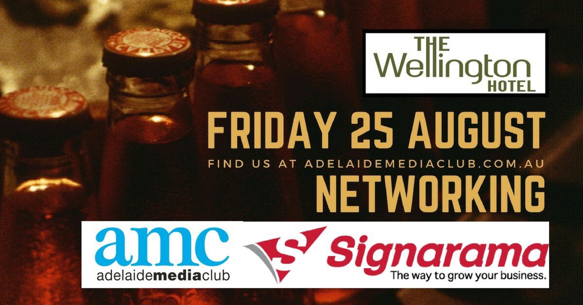 #Adelaide Media Club #Networking Drinks 6pm Friday 25AUG17 @ The Wellington North Adelaide #MembersOnly https://t.co/ktZCwQKHhv https://t.co/IrGT5anAbi