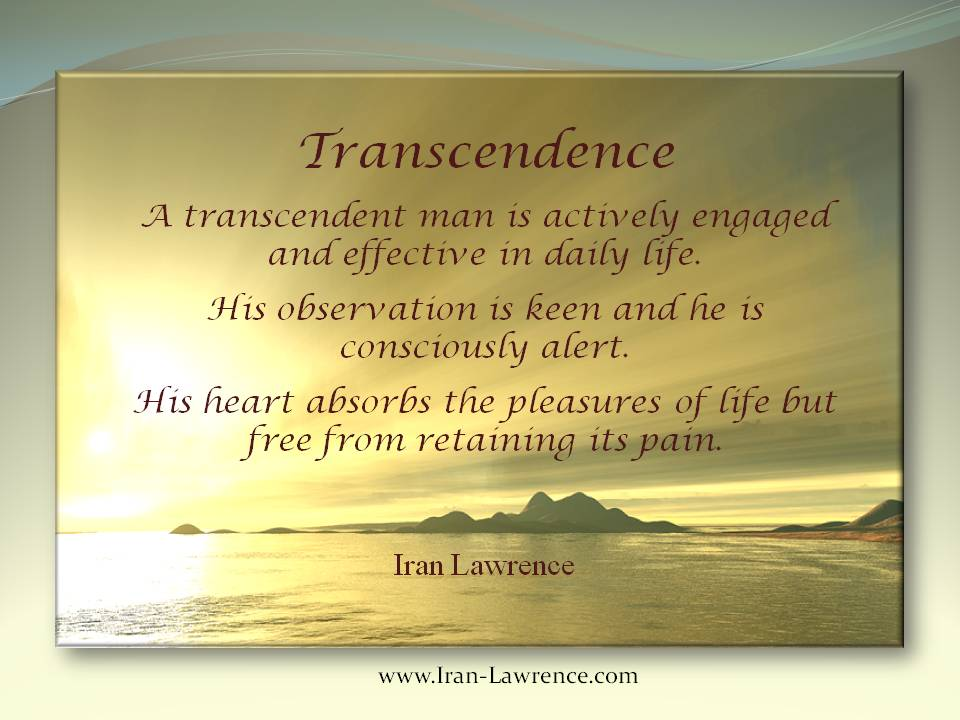 Transcendence:  A transcendent man is actively engaged and effective in daily #life. His #observation is keen and he is consciously #alert. <br>http://pic.twitter.com/qxyR2hc8uu