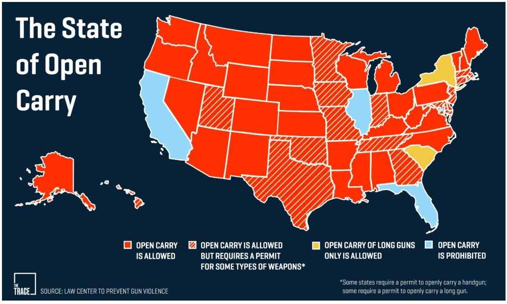 Protest Easy Guns On Twitter Map The State Of Open Carry In