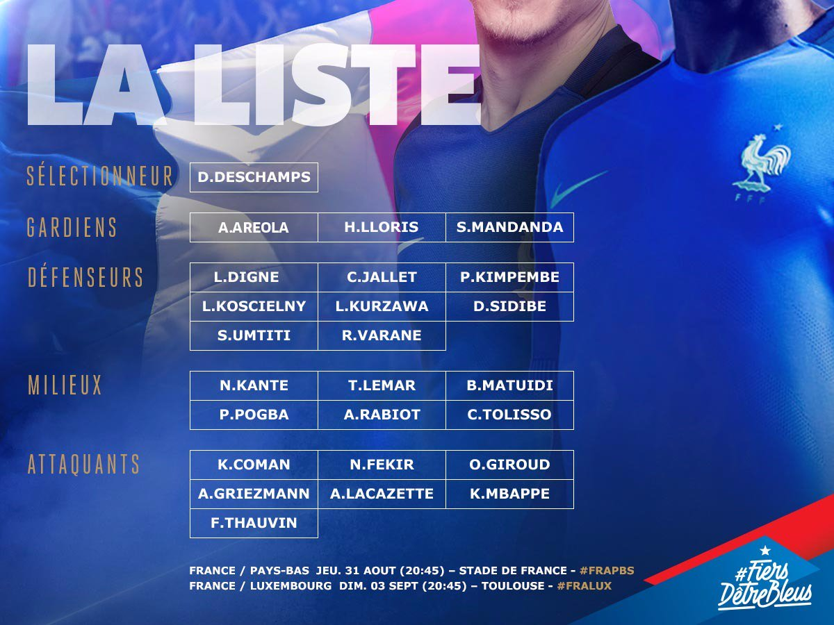 RDV lundi à Clairefontaine pour préparer les 2 matchs de qualif' à la #CDM2018 face aux Pays-Bas🇳🇱 et au Luxembourg🇱🇺!🔵⚪🔴 #FiersdetreBleus