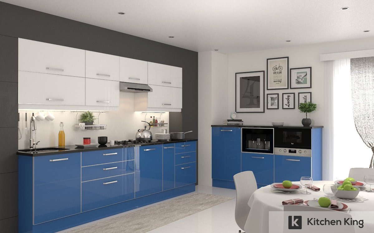 Kitchen king uae on twitter your kitchen cabinets do not have to be white go bold with sky blue and white which is the perfect combination