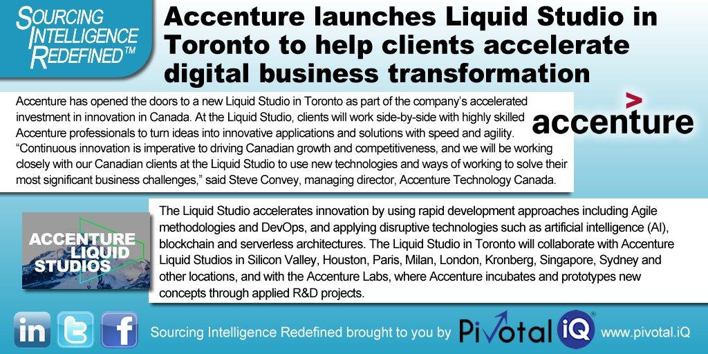 @Accenture launches #Liquid #Studio #Toronto to help clients #AccelerateChange via #DigitalTransformation - #Agile #DevOps #AI #blockchainpic.twitter.com/aTZ2YYlvmE