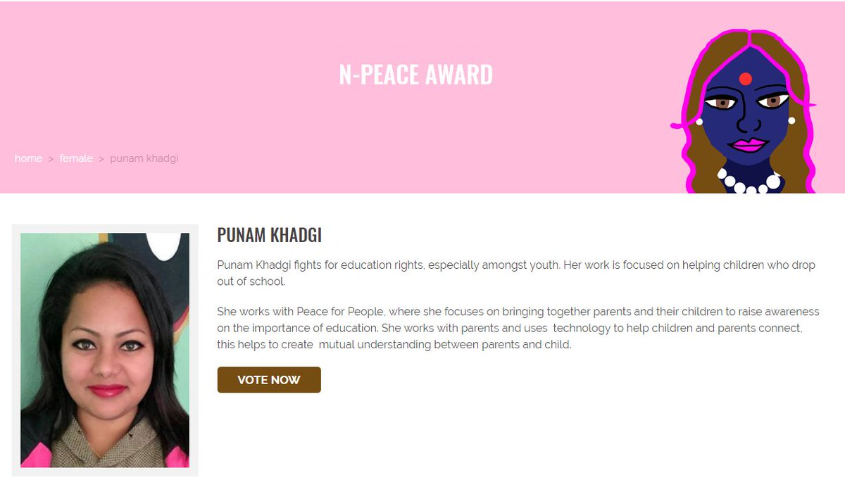Vote Punam Khadgi from Nepal, who works with children who drop out of school! #NPeaceAwards #SDG4 #SDG5 #WPS   http:// n-peace.net/nominee/punam- khadgi/ &nbsp; … <br>http://pic.twitter.com/KbVrpmVns8