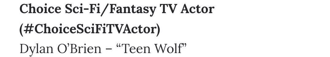 #News   Félicitations à Dylan qui a remporté le Teen Choice SciFiTVActor lors des #TeenChoice ! We are so proud of you @dylanobrien ! pic.twitter.com/hp9CG4UYHJ