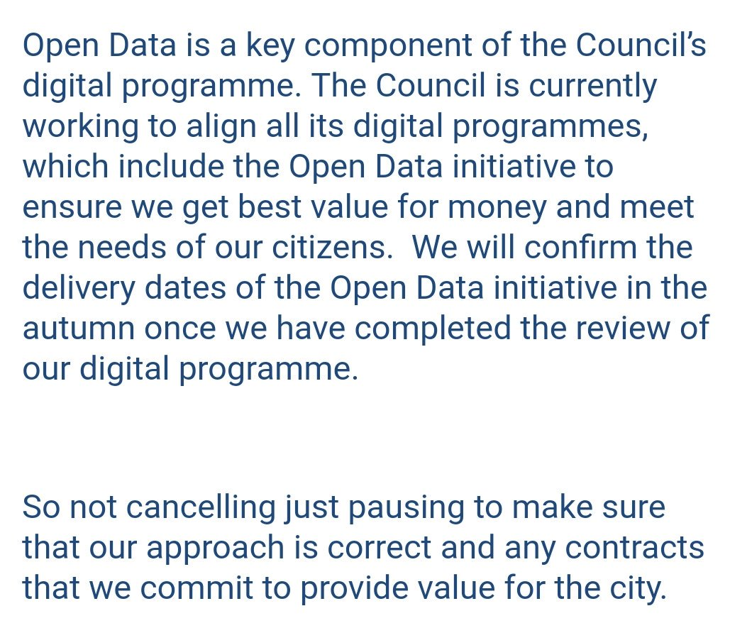 Thanks to @dlumsden for looking into my concerns and confirming that #aberdeen #opendata programme will continue (c.c. @scottishcities )<br>http://pic.twitter.com/rA3SQU1QWQ