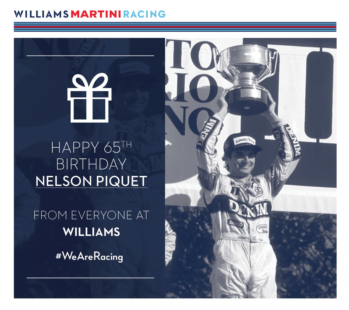 From all at Williams, we would like to wish a very big happy birthday to Nelson Piquet! #WeAreRacing