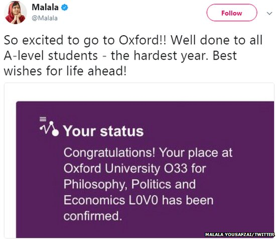 .@Malala Yousafzai tweets to say she's going to Oxford University #ale...